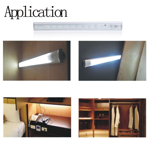 Lixada LED Under Cabinet Light PIR Motion Sensor Lamp Kitchen Wardrobe Cupboard Closet 30cm
