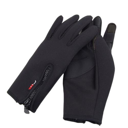 Перчатки для сенсорного экрана теплый ветрозащитный Открытый Велоспорт, Катание на лыжах, Пешие прогулки мужской черный