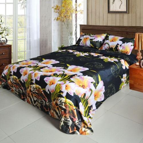4pcs 3D Printed Bedding Set Bedclothes Tiger and Lily Flower King Size Duvet Cover+Bed Sheet+2 Pillowcases