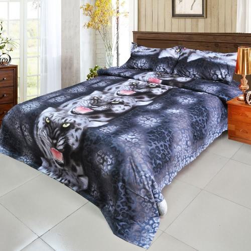 4шт 3D Печатный комплект постельных принадлежностей Постельные принадлежности Black Tiger Пододеяльник Простыня 2 наволочки