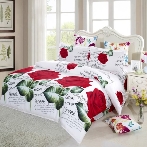 4pcs 3D Printed Bedding Set Bedclothes Red Rose in Full Bloom King Size Duvet Cover+Bed Sheet+2 Pillowcases