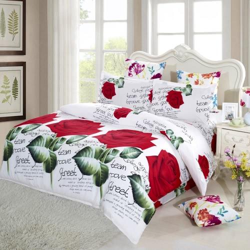 4pcs gedruckte 3D-Bettwäsche-Satz Bettwäsche rote Rose in voller Blüte King Size Bettbezug + Bettlaken + 2 Kissen-