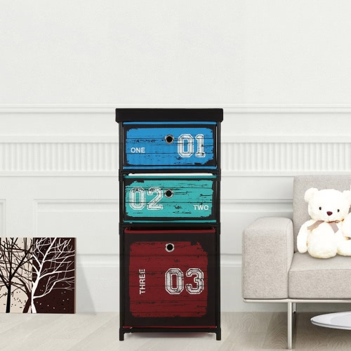 iKayaa Antique Fabric 3-Drawer Clothes Storage Cabinet