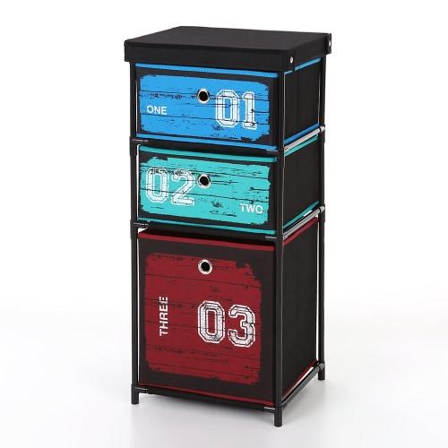 iKayaa Античный стиль Ткань 3-ящика для дома и офиса Шкаф для хранения Организатор для одежды Игрушки Sockets ящик для хранения