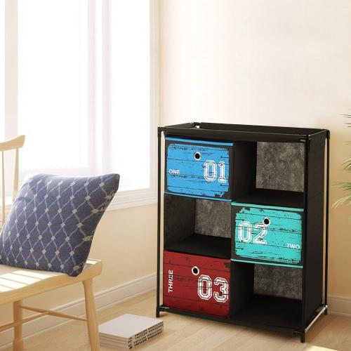 iKayaa Античный стиль Ткань 3-Ящика 3 Сетки для дома и офиса Шкаф для хранения Организатор Игрушки для одежды Sockets Ящик для хранения
