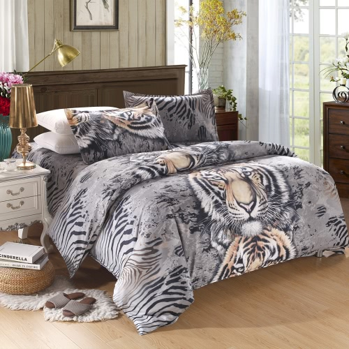 Tiger Pattern 4Pcs 3D Printed Bedding Set Bedclothes Home Textiles King Size Quilt Cover Bed Sheet 2 Pillowcases