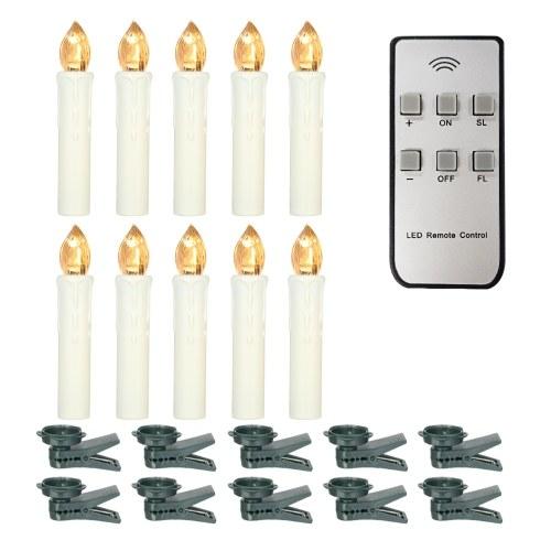 Velas sin llama de 10 piezas con control remoto Velas LED blancas cálidas realistas Árbol de Navidad con pilas Luces de velas cónicas parpadeantes con clips para decoración de bodas