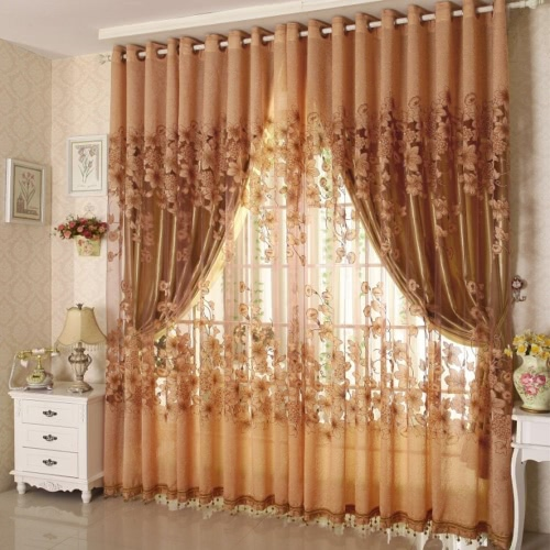 European Top-grade Morning Glory Pattern Half Shading Burnt-out Curtain for Door Window Room Decoration Window Screening Pastoral Voile Curtains Bedroom Decor 2PCS