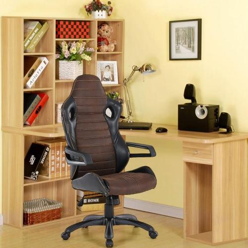 iKayaa fresca que compite con ajustable Estilo Oficina Ejecutiva silla de la PU giratoria de cuero Silla de ordenador de alta capacidad de carga Volver 120KG W / asiento de cubo de bloqueo de inclinación