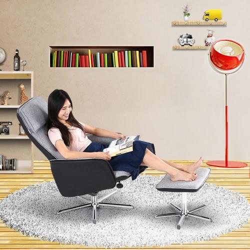 Pelle iKayaa moderna di alta qualità PU + Tessuto Glider e ottomano Set di inclinazione di 360 ° sedie girevoli reclinabili per Soggiorno Camera da letto Giardino baclony