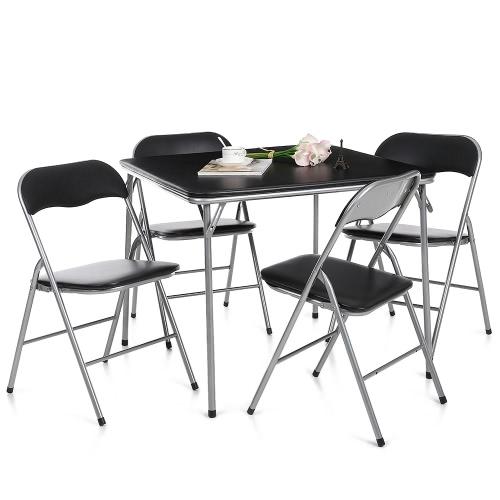 iKayaa - Ensemble table et chaises à manger pliant - Noir