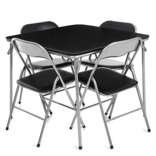 IKAYAA 5PCS Metal Folding Kitchen Dining Table Chair Set Furniture Multi-function Outdoor Camping Picnic Table Chairs for Card Majhong Playing Game