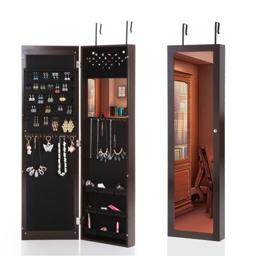 iKayaa моды Зеркальные висячие над дверью ювелирных изделий Armoire Кабинет настенный монтаж ювелирных изделий Коробка для хранения Организатор