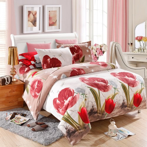Tulip Flower Pattern 4Pcs 3D Printed Bedding Set Bedclothes Home Textiles Quilt Cover Bed Sheet 2 Pillowcases