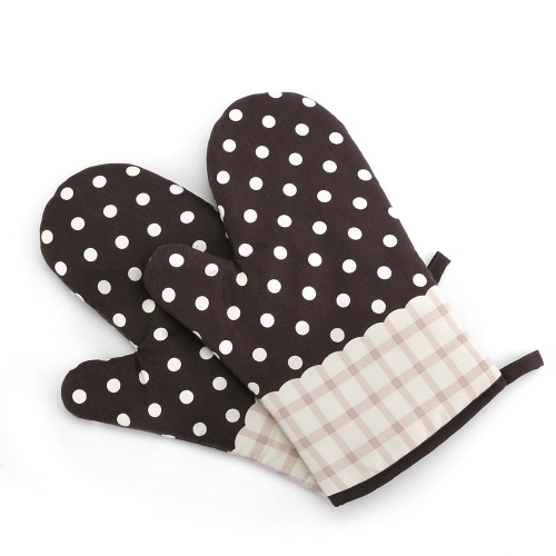 Non-Slip Kitchen Oven Mitts Heat Resistant Cotton Gloves for Cooking Baking Barbecue Potholder Glove with Patterns