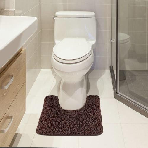 50 * 60cm En forma de U Soft Chenille Alfombra de baño antideslizante Water Absorbent Shaggy Ducha Mat Bathmat Baño Alfombra de baño