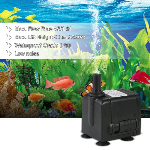 450L/H 6W Submersible Water Pump for Aquarium Tabletop Fountains Pond Water Gardens and Hydroponic Systems with 2 Nozzles AC220-240V