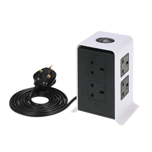 2500W Smart Vertical Multi-Socket 8 tomas y 4 puertos USB 2.1A toma de corriente AC110-250V Toma de alimentación de voltaje mundial con cuerda de 6.5 pies para el hogar y la oficina