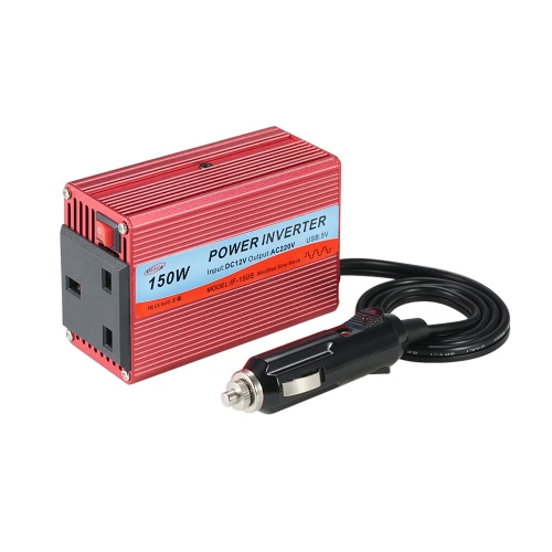 150W Car Power Inverter Modified Sine Wave DC 12V to AC 220V Converter with 2.1A 1A Dual USB Charger