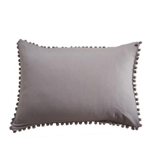 Комплект для постельного белья 3pcs / set Pure Color Set Мягкая полиэфирная пододеяльник для микрофибры + 2 шт. Наволочки с пушистыми маленькими шариками - размер королевы белого цвета