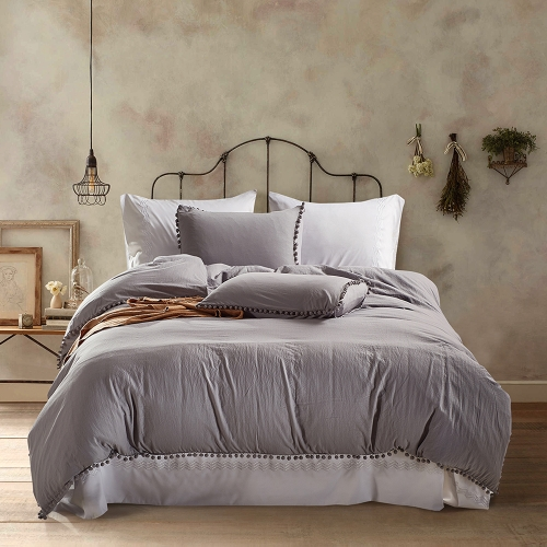 3pcs/set Pure Color Bedding Set Soft Polyester Microfiber Duvet Cover + 2pcs Pillowcases Set with Furry Little Balls--Queen Size White