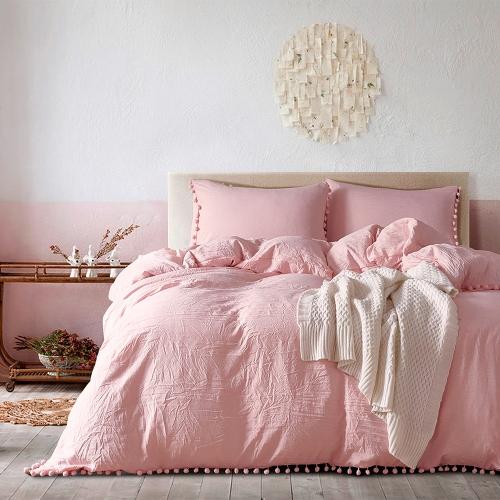 3pcs/set Pure Color Bedding Set Soft Polyester Microfiber Duvet Cover + 2pcs Pillowcases Set with Furry Little Balls--Queen Size White