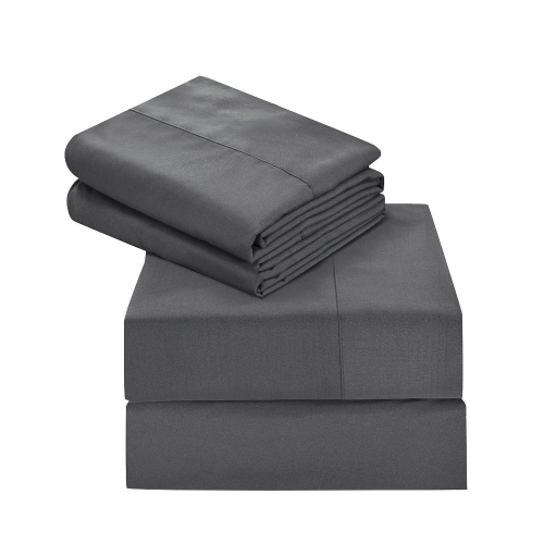 Htovila 4-Piece Bed Sheet Set Soft Brushed Microfiber Bedding Set Flat Sheet + Fitted Sheet + 2pcs Pillowcase--Queen Size + Grey