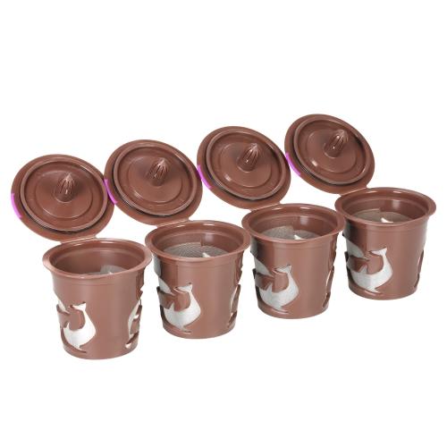 4pcs / set Capsule réutilisable de café de K-tasse pour Keurig 2.0 et 1.0 machines de brassage de filtres à café rechargeables