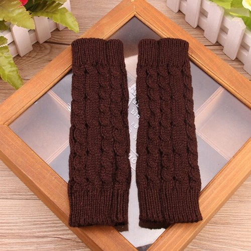 Winter Fashion Unisex Arm Warmer Fingerless Knitted Long Gloves Cute Mittens