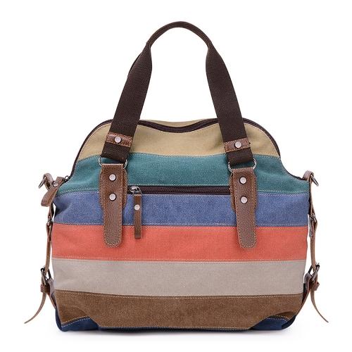 Bolso de cuero retro del bolso del bolso de la lona de las mujeres de los hombres bolso rayado del hombro de Crossbody de la bolsa de mensajero