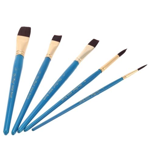 5pcs Nylon Hair Paint Brush Set Round Flat Tip Wooden Handle Artists Watercolor Acrylic Brushes Art Supplies