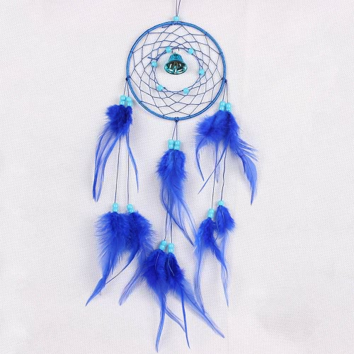 Fashion Handmade Dream Catcher with Real Feather Bell Bead Wall Hanging Decoration Car Pendant 4.9
