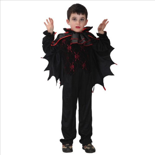 FESTNIGHT Kids Halloween Costume Vampire Bats Cosplay Costume Fancy Dress for Roleplay Masquerade Ball Make-up Party Dress up Games
