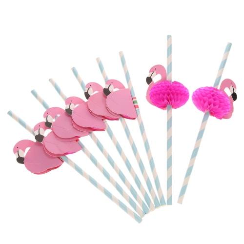 50pcs / set bonito da categoria palhas de papel Food para a celebração da festa do bebé casamento aniversário e o partido multifuncionais palhas com Flamingo Decorado
