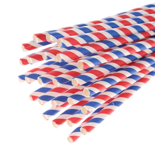 100pcs/set Three Color Stripe Pattern Food Grade Paper Straws for Birthday Wedding Baby Shower Celebration and Party