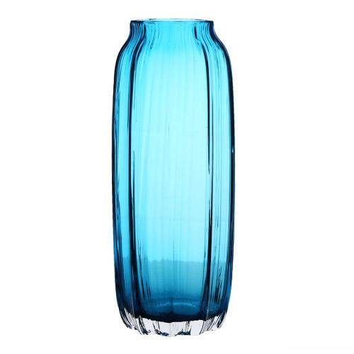 CASAMOTION 31cm Hand Blown Modern Ribbed Design Glass Vase Home Art Decoration Floral Arrangements Straight Shape