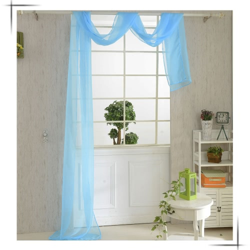 82*550cm Romantic Pure Color Voile Drapery Door Window Curtain for Living Room Wedding Banquet Decoration