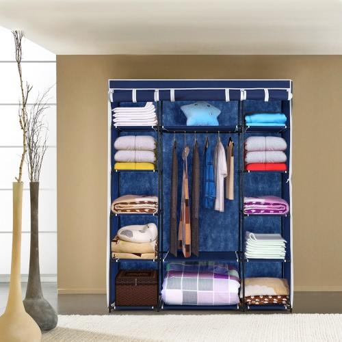 13 / estantes de almacenamiento portátil moderna iKayaa Tela armario organizador del almacenaje de rueda para arriba Ropa Armario Gabinete de la suspensión de ropa del estante 1 W barra colgante