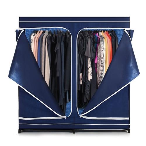 Estante iKayaa Doble Clásica subió la cremallera Tela armario ropero Gabinete ropa grande del organizador del almacenaje de la ropa de ropa Hanger