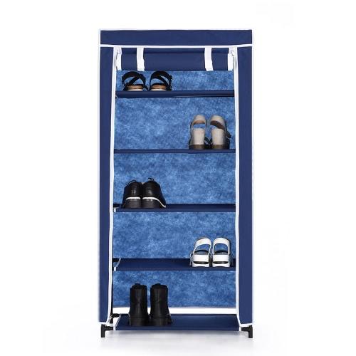 iKayaa Классические Портативный 5 Tier Ткань обувь стойки Кабинет Нетканые застегивать 10 пар постоянных сапоги Обувь для хранения Организатор