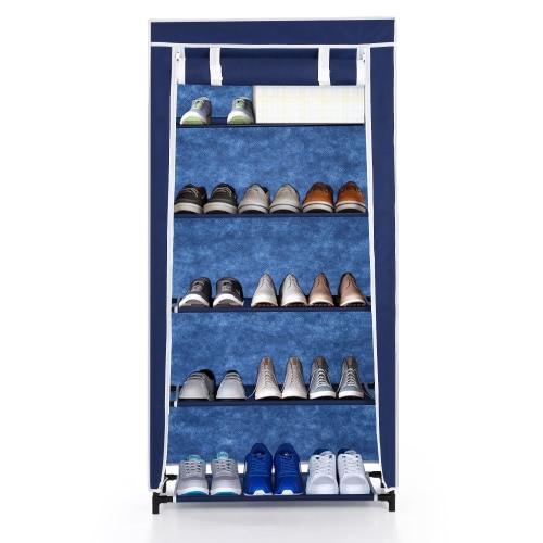 iKayaa Meuble à chaussures bleu - 5 étages
