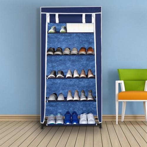 iKayaa Classic cliente: 5 Zapatos de nivel de gabinete en rack de tela no tejida de cerrar la cremallera de 10 pares pie zapatos de los cargadores del organizador del almacenaje