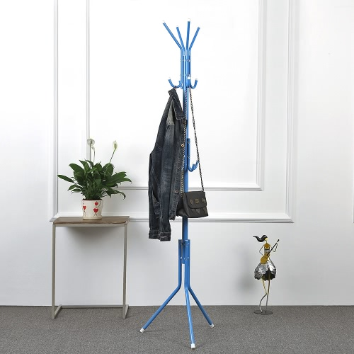 iKayaa Modern Metal Frame Coat Hat Rack Stand Hanger Cloth Jacket Rack for Living Room Office Hallway 2 Layer 8 Hooks