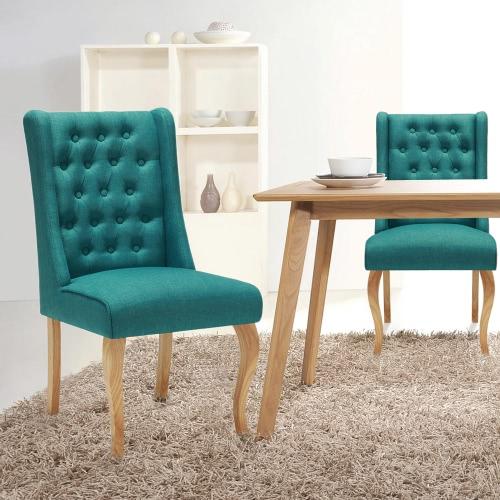 Piernas Silla Silla iKayaa estilo antiguo copetudo cocina cena la silla de lino Accent tapizada en la sala de estar W / Caucho Madera