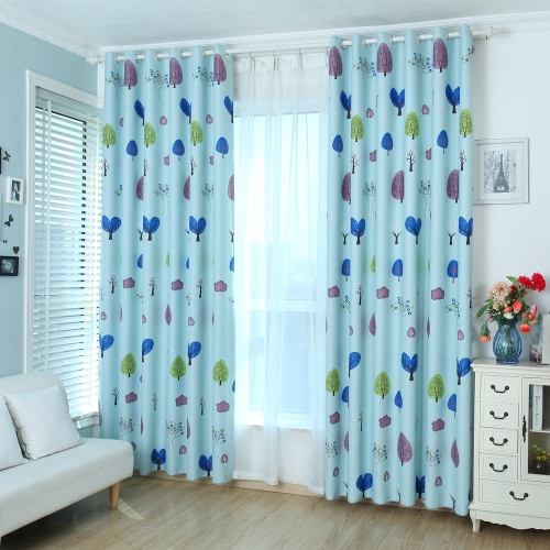 Anself 2PCS 100*250cm Punching Grommet Blackout Curtain Linings Panel Bright Colored Trees Curtains Soft Window Drape Classy Decoration Draperies for Living Room Bedroom Size 39