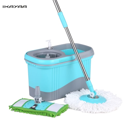 iKayaa Press Type Stainless Steel 360°Rolling Magic Spin Mop & Bucket Set Rotating Easy-Wring Floor Mop W/ 2 Mop Heads