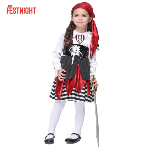 Festnight Cosplay Let's Pretend Pretty Seas Buccaneer Costume Cute Pirate Child Costumes Halloween Kids' Suit
