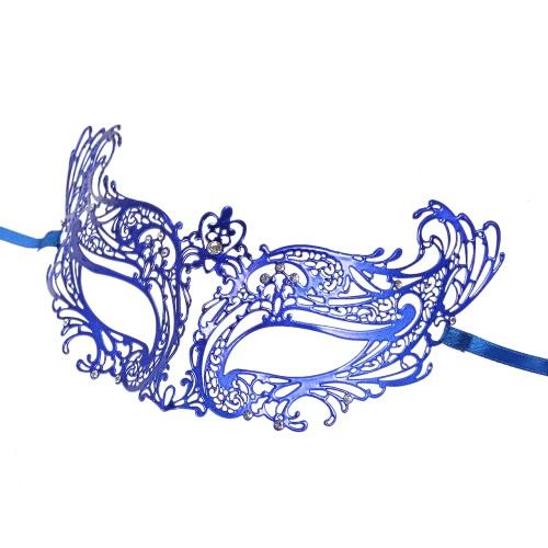 Festnight Fashionable Blue Laser Cut Metal Half Mask with Rhinestones Masquerade Ball Halloween Mask Fancy Gift