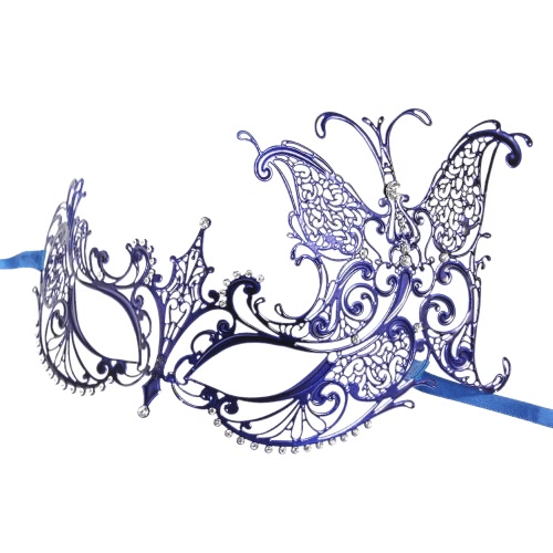 Festnight Luxury Butterfly Design Blue Laser Cut Metal Half Mask with Rhinestones Masquerade Ball Halloween Mask
