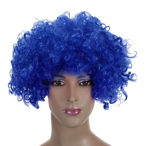 Les fans Festnight Adulte Colorful Clown Afro perruque de cheveux bouclés Halloween Masquerade cosplay costume football perruque